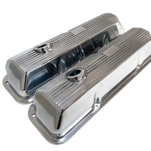 ansen custom engraving, ford fe 428 cobra jet valve covers, finned styling, polished, angled view