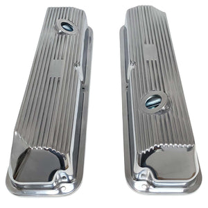 ansen custom engraving, ford fe 428 cobra jet valve covers, finned styling, polished, top view