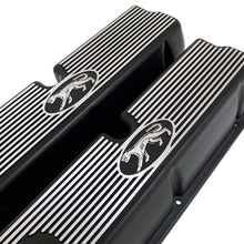 Load image into Gallery viewer, ansen custom engraving, ford 289, 302, 351w valve covers, cougar style, black, angled view