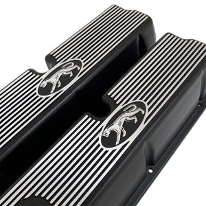 ansen custom engraving, ford 289, 302, 351w valve covers, cougar style, black, angled view