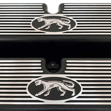 Load image into Gallery viewer, ansen custom engraving, ford 289, 302, 351w valve covers, cougar style, black, close up view