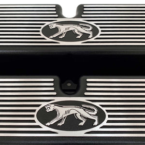 ansen custom engraving, ford 289, 302, 351w valve covers, cougar style, black, close up view