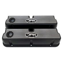 Load image into Gallery viewer, ansen custom engraving, ford 289, 302, 351w valve covers, cougar style, black, front view