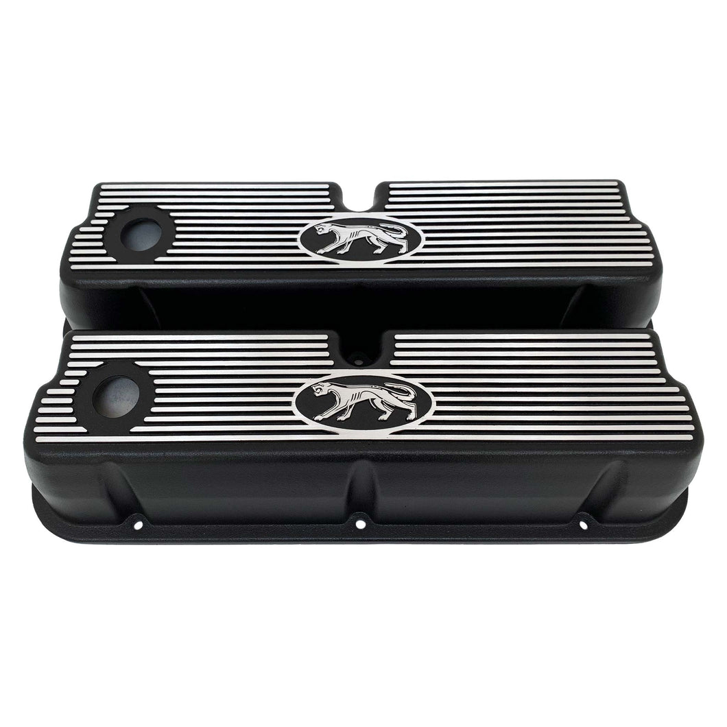 ansen custom engraving, ford 289, 302, 351w valve covers, cougar style, black, front view