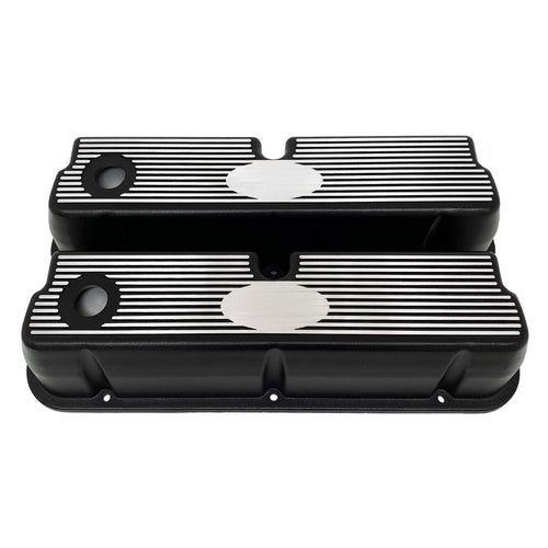 ansen custom engraving, ford 289 302 351 windsor custom valve covers, black, front view