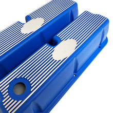 Load image into Gallery viewer, ansen custom engraving, ford 289 302 351 windsor custom valve covers, blue, angled view