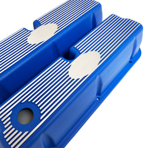 ansen custom engraving, ford 289 302 351 windsor custom valve covers, blue, angled view