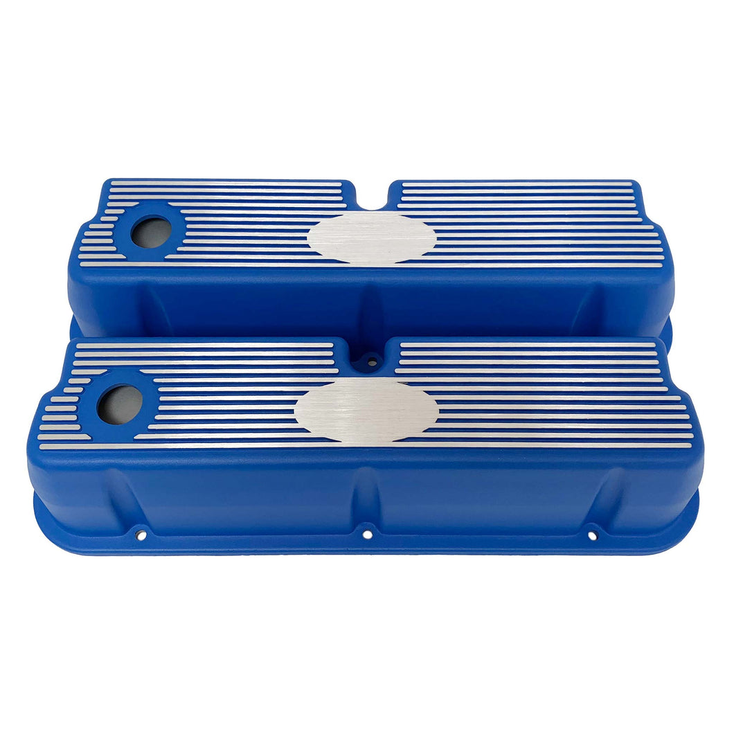 ansen custom engraving, ford 289 302 351 windsor custom valve covers, blue, front view