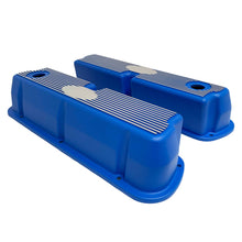 Load image into Gallery viewer, ansen custom engraving, ford 289 302 351 windsor custom valve covers, blue, side profile view