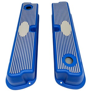 ansen custom engraving, ford 289 302 351 windsor custom valve covers, blue, top view