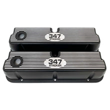 Load image into Gallery viewer, ansen custom engraving, ford 347 stroker tall valve covers, black, front view