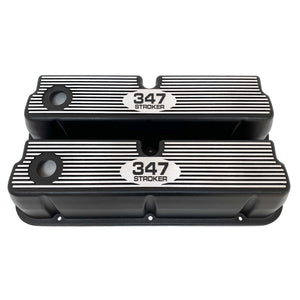 ansen custom engraving, ford 347 stroker tall valve covers, black, front view