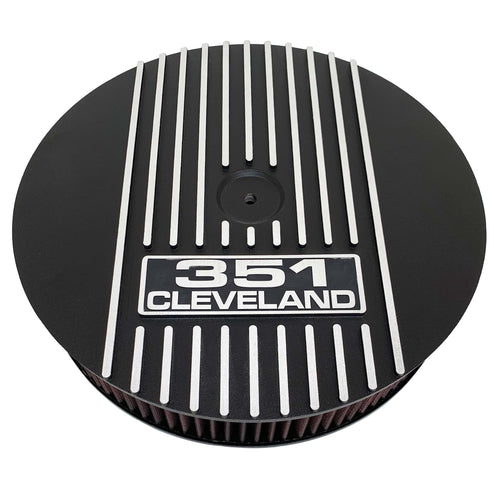 ansen custom engraving, ford 351 cleveland black background air cleaner kit, 13 inch round, black, front view