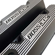 Load image into Gallery viewer, ansen custom engraving, ford boss 302 valve covers, black, angled view