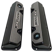 Load image into Gallery viewer, ansen custom engraving, ford boss 302 valve covers, black, top view