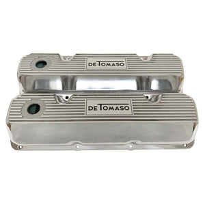 ansen custom engraving, ford de tomaso pantera 351 cleveland valve covers polished, front view