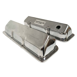 ansen custom engraving, ford de tomaso pantera 351 cleveland valve covers polished, side profile view