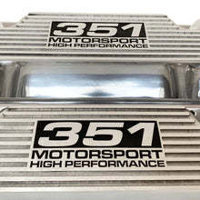 Load image into Gallery viewer, ansen custom engraving, ford 351 cleveland valve covers, motorsport high performance logo, polished, close up view