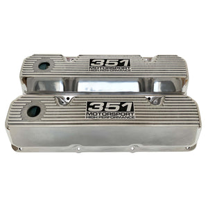 ansen custom engraving, ford 351 cleveland valve covers, motorsport high performance logo, polished, front view
