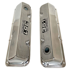 ansen custom engraving, ford 351 cleveland valve covers, motorsport high performance logo, polished, top view