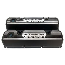 Load image into Gallery viewer, ansen custom engraving, ford 351 motorsport valve covers, black, front view