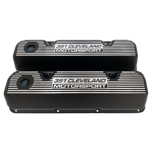 ansen custom engraving, ford 351 motorsport valve covers, black, front view
