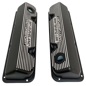 ansen custom engraving, ford 351 motorsport valve covers, black, top view