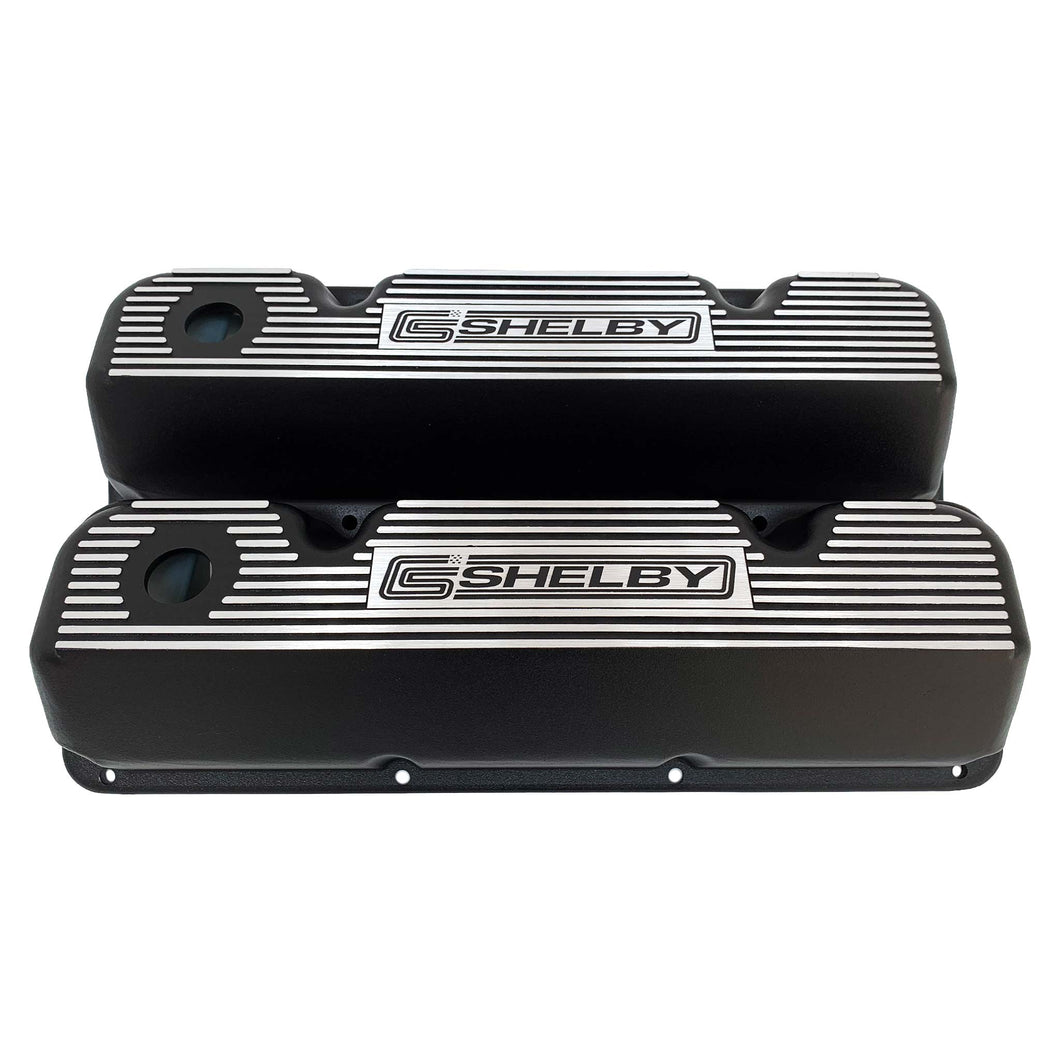 ansen custom engraving, ford carroll shelby valve covers, elite series, black, front view