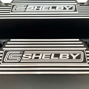 ansen custom engraving, ford carroll shelby 351 cleveland valve covers, black, close up view