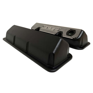 ansen custom engraving, ford carroll shelby 351 cleveland valve covers, black, side profile view