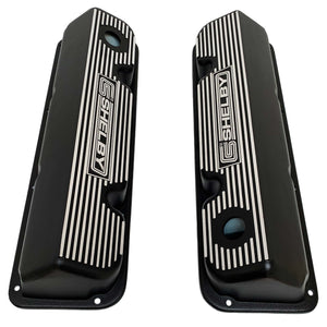 ansen custom engraving, ford carroll shelby 351 cleveland valve covers, black, top view