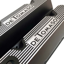 Load image into Gallery viewer, ansen custom engraving, de tomaso pantera valve covers, black, angled view