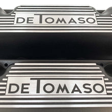 Load image into Gallery viewer, ansen custom engraving, de tomaso pantera valve covers, black, close up view