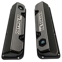 Load image into Gallery viewer, ansen custom engraving, de tomaso pantera valve covers, black, top view