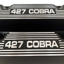 Load image into Gallery viewer, ansen custom engraving, ford 427 cobra valve covers, black, close up view
