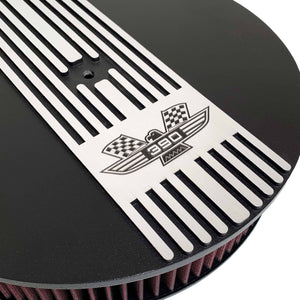 ansen custom engraving, ford fe 390 american eagle air cleaner kit 15 inch round, black, close up view