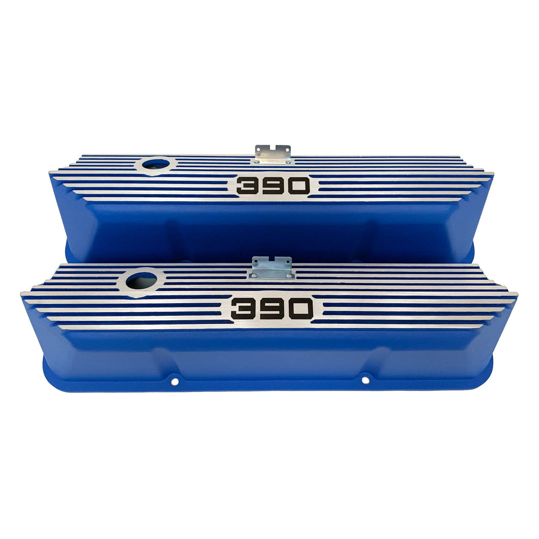 ansen custom engraving, ford fe 390 valve covers, tall, finned, blue, front view