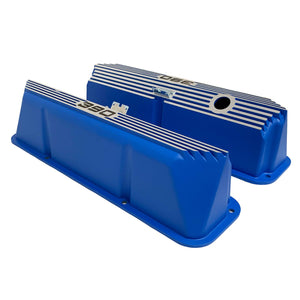 ansen custom engraving, ford fe 390 valve covers, tall, finned, blue, side profile view