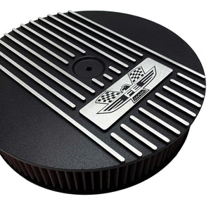 ansen custom engraving, ford fe american eagle air cleaner kit 13 inch round, black, close up view