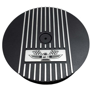 ansen custom engraving, ford fe american eagle air cleaner kit 13 inch round, black, front view
