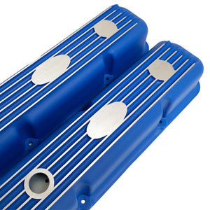 ansen custom engraving, ford fe short valve covers, blue, angled view