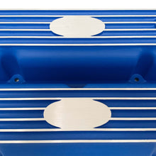 Load image into Gallery viewer, ansen custom engraving, ford fe short valve covers, blue, close up view