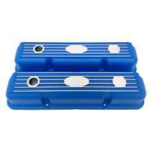 Load image into Gallery viewer, ansen custom engraving, ford fe short valve covers, blue, front view