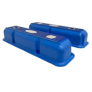 ansen custom engraving, ford fe short valve covers, blue, side profile view