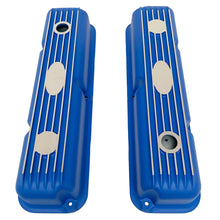 Load image into Gallery viewer, ansen custom engraving, ford fe short valve covers, blue, top view