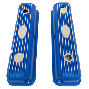 ansen custom engraving, ford fe short valve covers, blue, top view