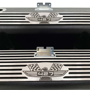 ansen custom engraving, ford fe tall 427 american eagle valve covers, black, close up view