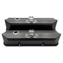 Load image into Gallery viewer, ansen custom engraving, ford fe tall 427 american eagle valve covers, black, front view
