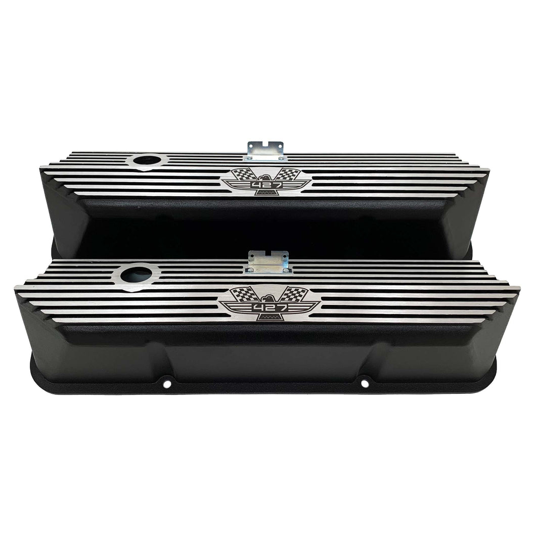 ansen custom engraving, ford fe tall 427 american eagle valve covers, black, front view