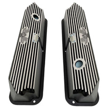 Load image into Gallery viewer, ansen custom engraving, ford fe tall 427 american eagle valve covers, black, top view